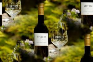 Weinflasche und Glas - 2 Sterne Grauburgunder