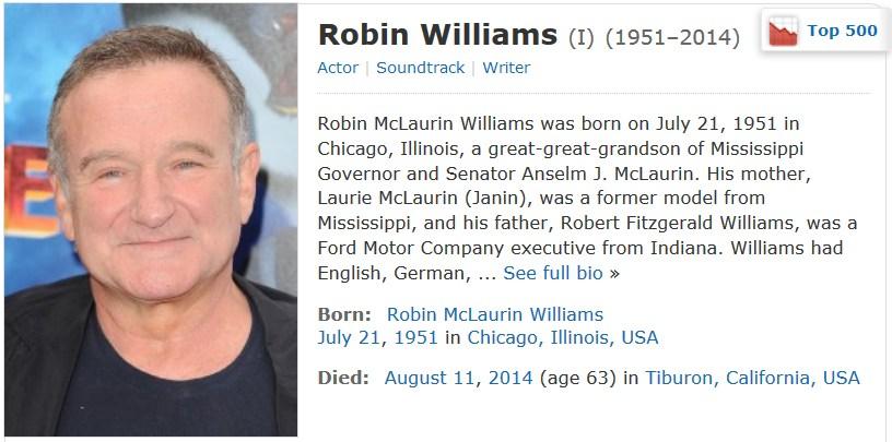 Robin Wlliams auf IMDb