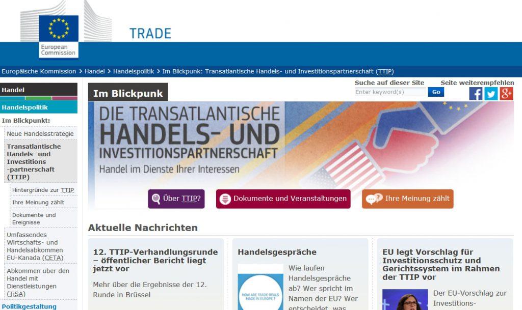 Europa TTIP Infoseite Internet