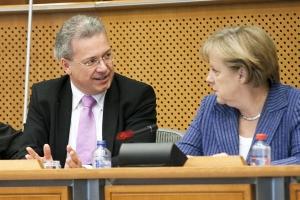 Markus Ferber und Angela Merkel in Brüssel